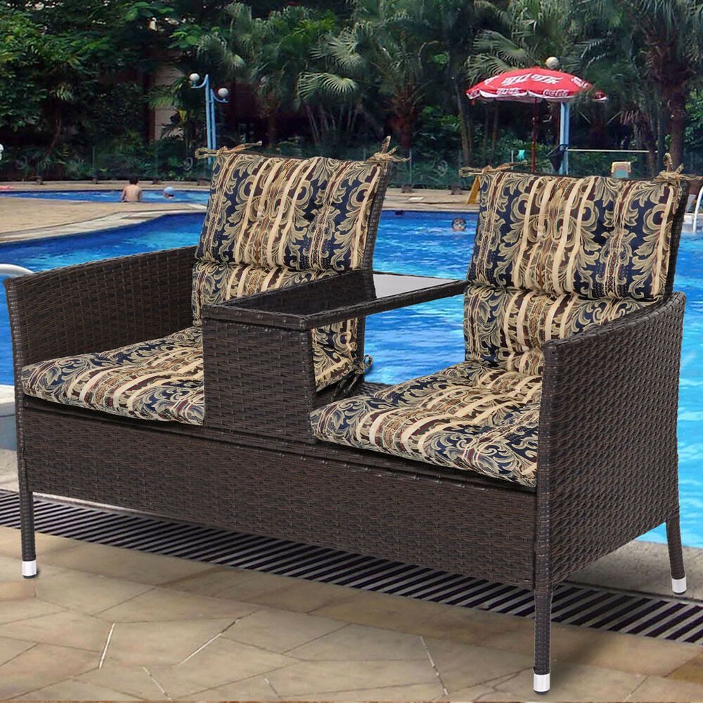 Blue Stripes Patio Lounge Chaise Dining Chair Foam Cushion