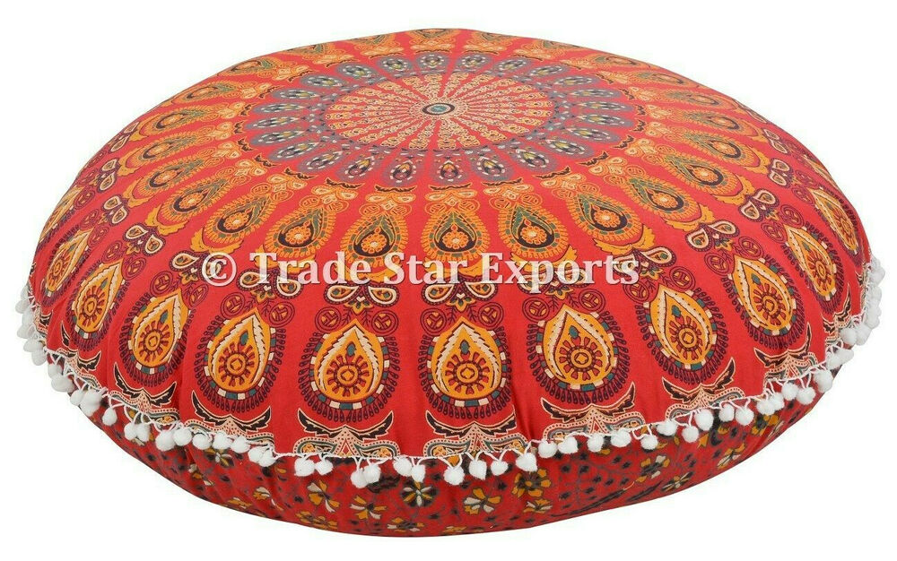 Large Round Decorative Pillow : Decorative Large Floor Pillow with Insert Mandala Meditation Round Throw Cushion eBay