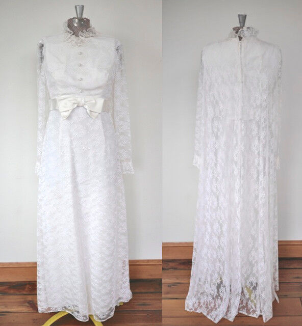 Vintage 50s 60s Empire Waist White Lace Wedding Gown Dress