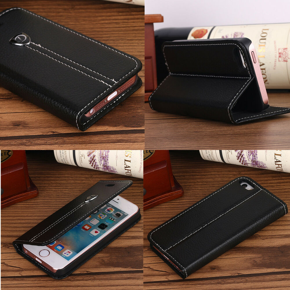apple iphone 5s leather case for apple iphone 5s 6se 5 luxury magnetic flip cover stand 4802