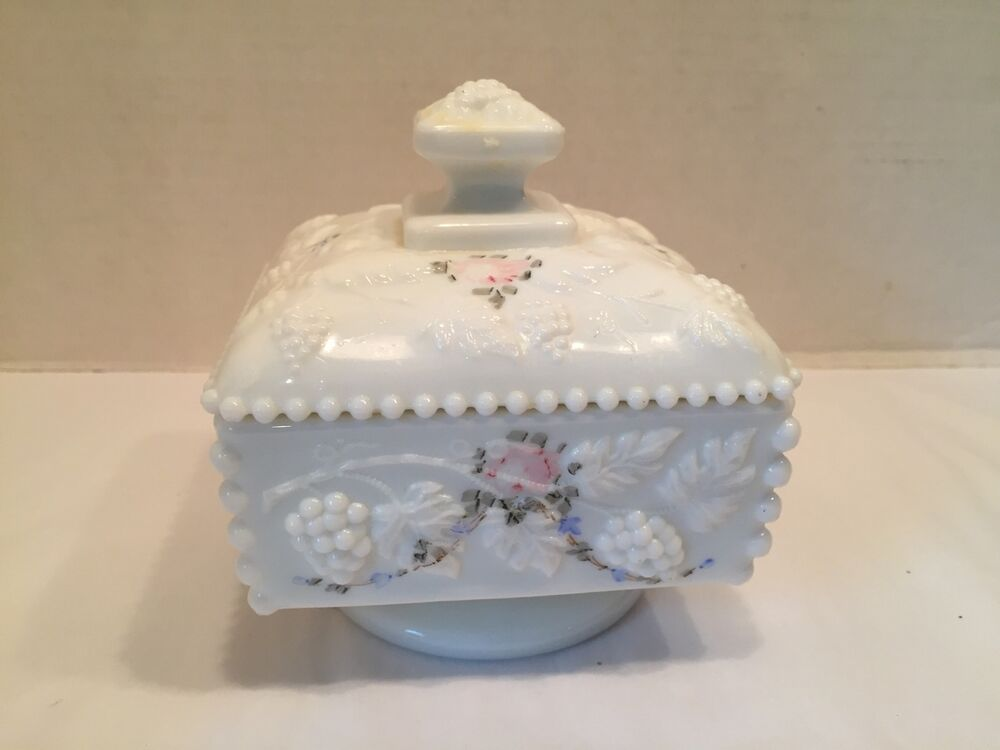 Vtg Antique White Milk Glass Candy Dish Dotted Square Bead ...