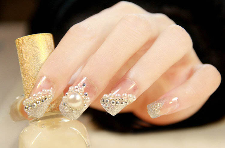 3d nail art tips pearl acrylic gem glitter manicure diy for 3d nail art decoration