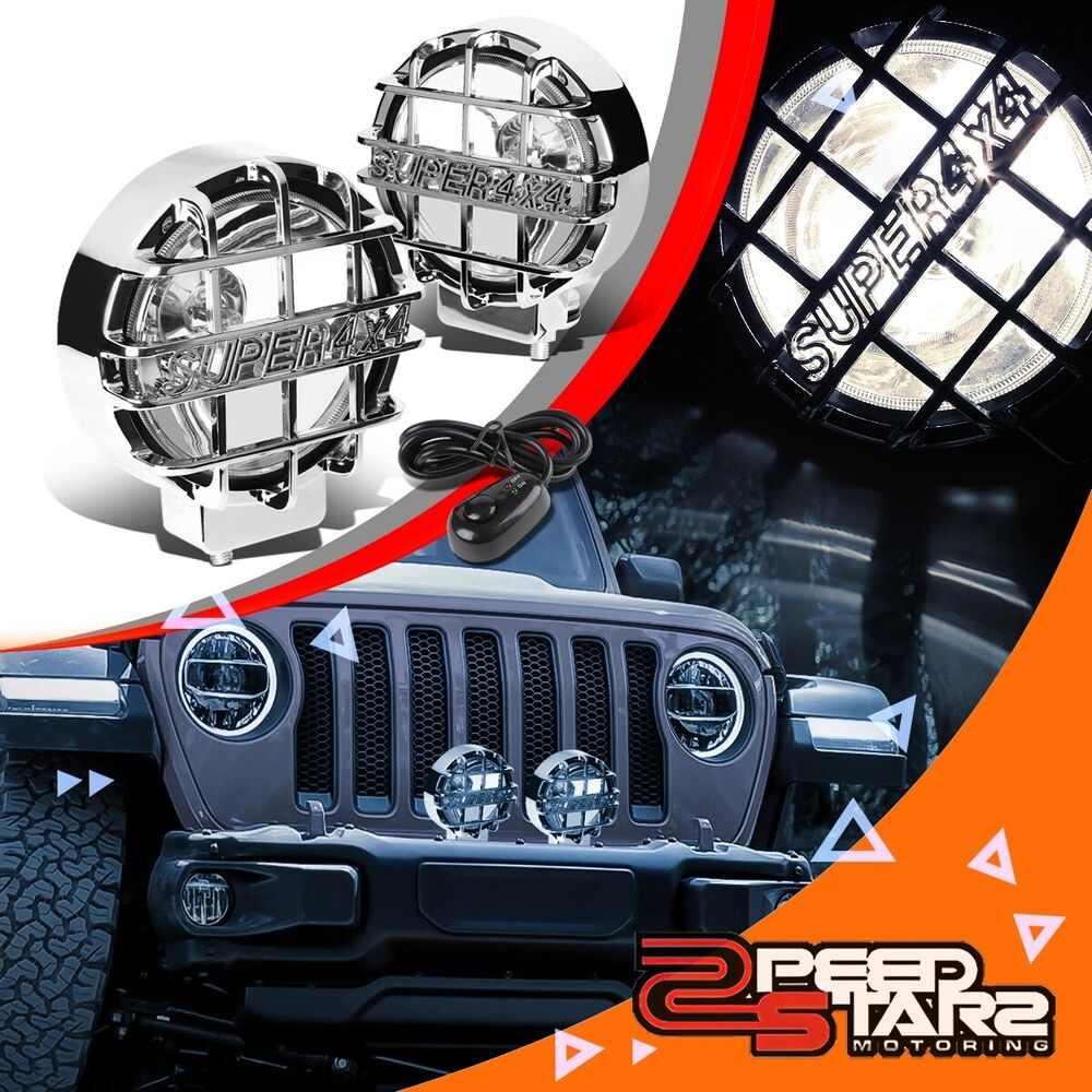 Wiring A Super Switch Electrical Diagram 5 Way Schaller 6 Quot Round Clear Lens Chrome Cover Bumper Bull Bar Grill Fog