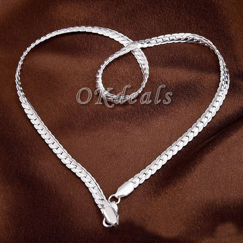 "5MM 925 Sterling silver plated Necklace Chain 20"" inch ..."