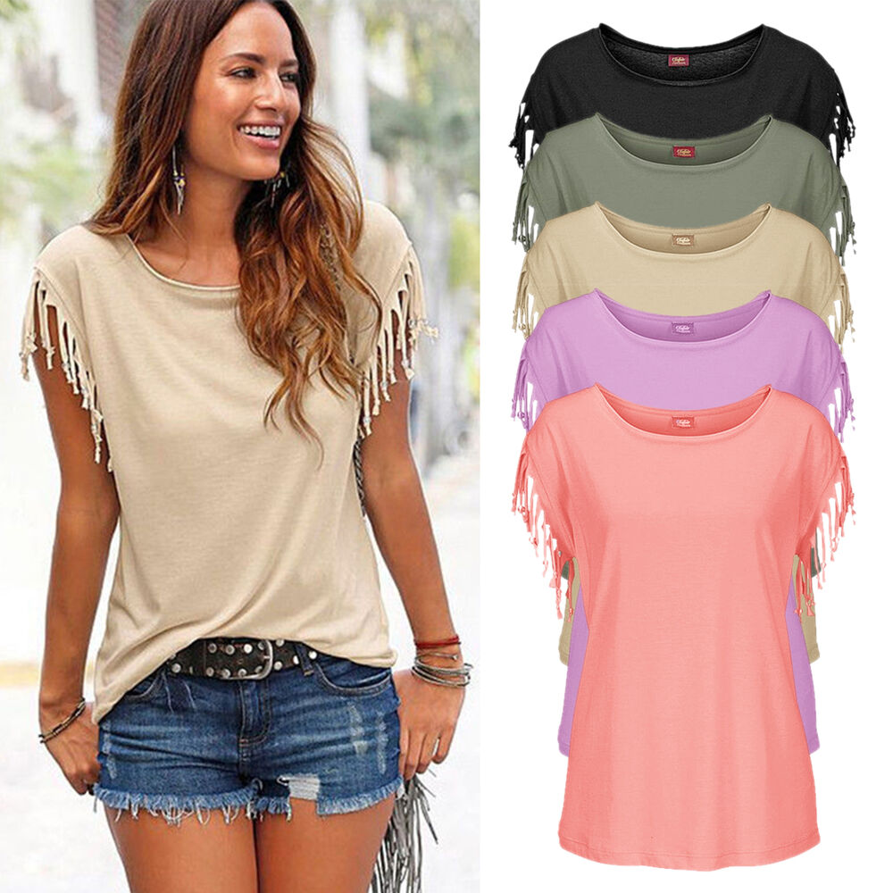 Fashion Womens Summer Loose Tops Short Sleeve Tassel