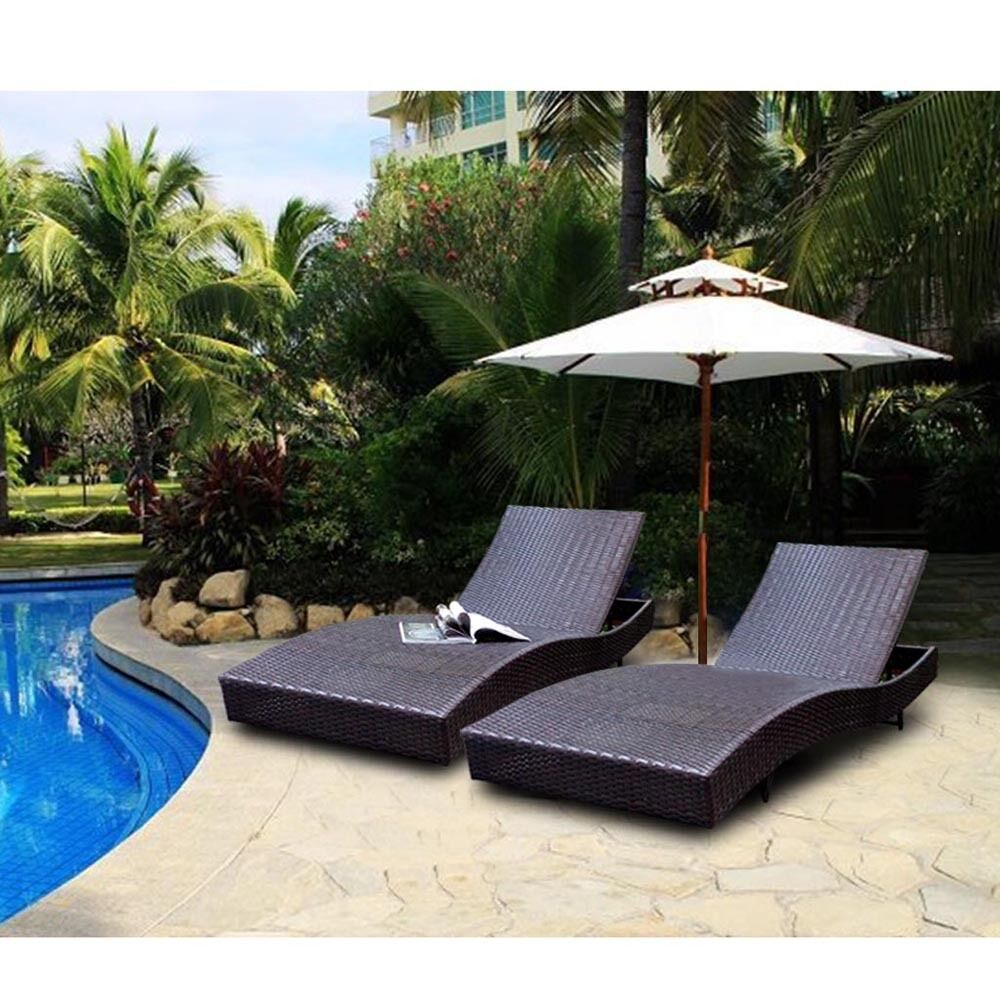 79 adjustable furniture pe wicker pool chaise outdoor for Pool and patio furniture