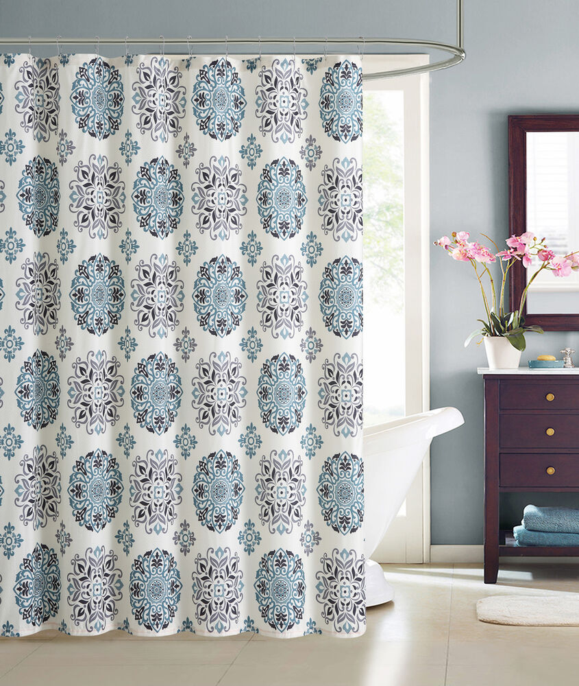 Cream Embossed Fabric Shower Curtain Teal And Gray Moroccan Medallion Design Ebay