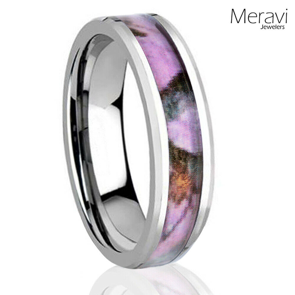 Pink And Black Tungsten Ring: Silver Tungsten Real Oak Pink Hunting Tree Camo Ring