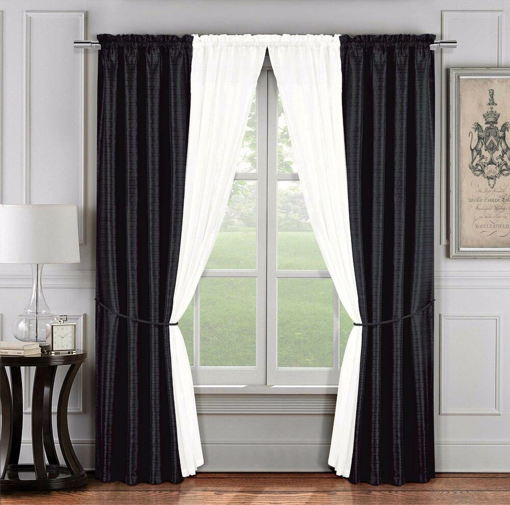 6 Pc. Jacquard Window Curtain Set: Black Ivory, 2 Panels, 2 Sheers, 2 Tie Back eBay