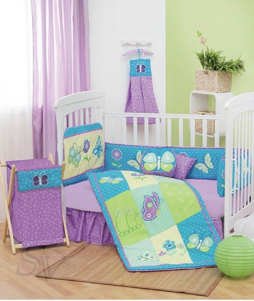 new baby butterfly purple embroidery nursery 87340