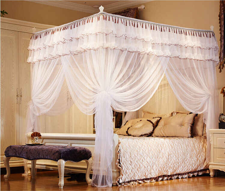 White luxury hight qc 4 post bed curtain canopy mosquito - King size canopy bed with curtains ...
