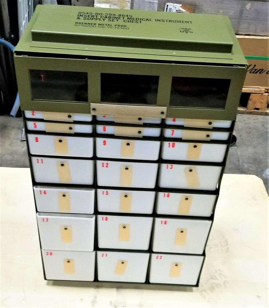 22 Drawer Small Parts Storage Cabinet Military Medical