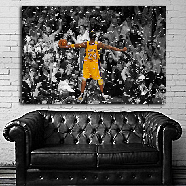 poster mural kobe bryant lakers basketball 35x52 inch 90x132 cm on canvas ebay. Black Bedroom Furniture Sets. Home Design Ideas