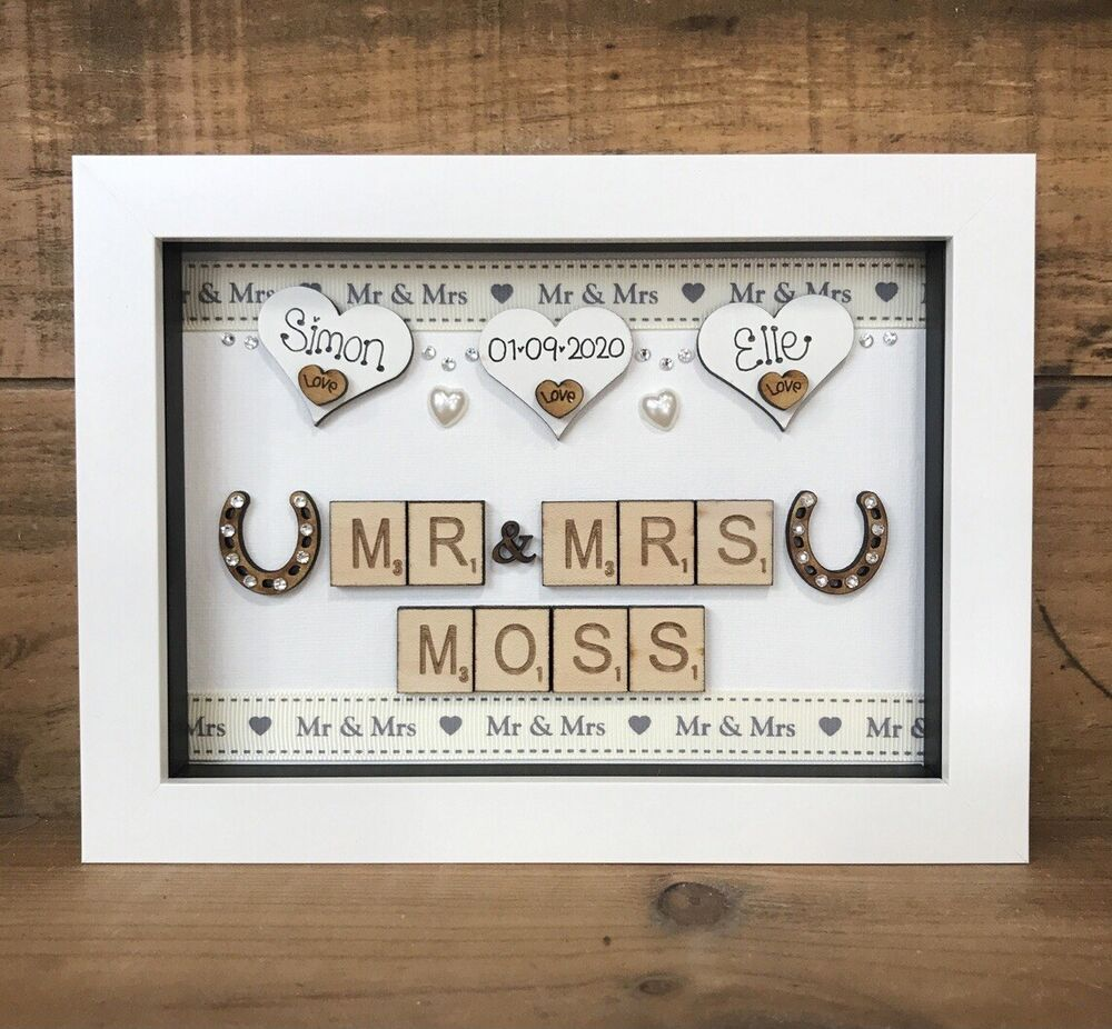 WEDDING DAY BOXED FRAME SCRABBLE LETTERS MR & MRS JUST MARRIED ...