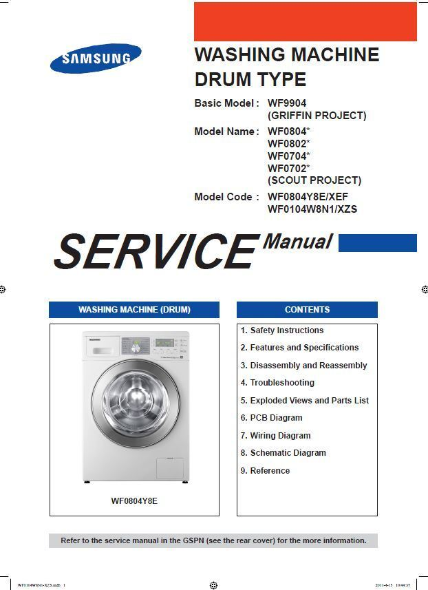 Samsung Wf0804y8e Wf0104w8n1 Washer Service Manual Repair