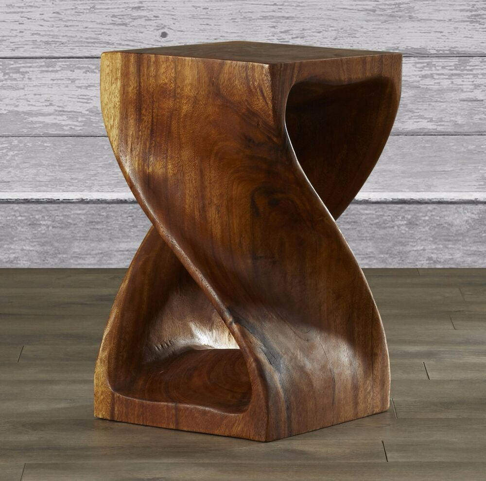 Rustic wood end table side plant stand vintage log accent