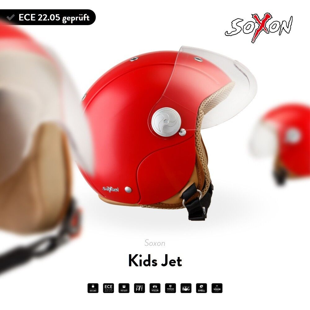 soxon sk 55 red jet helmet vespa scooter pilot kids motorcycle retro xxs xs s ebay. Black Bedroom Furniture Sets. Home Design Ideas