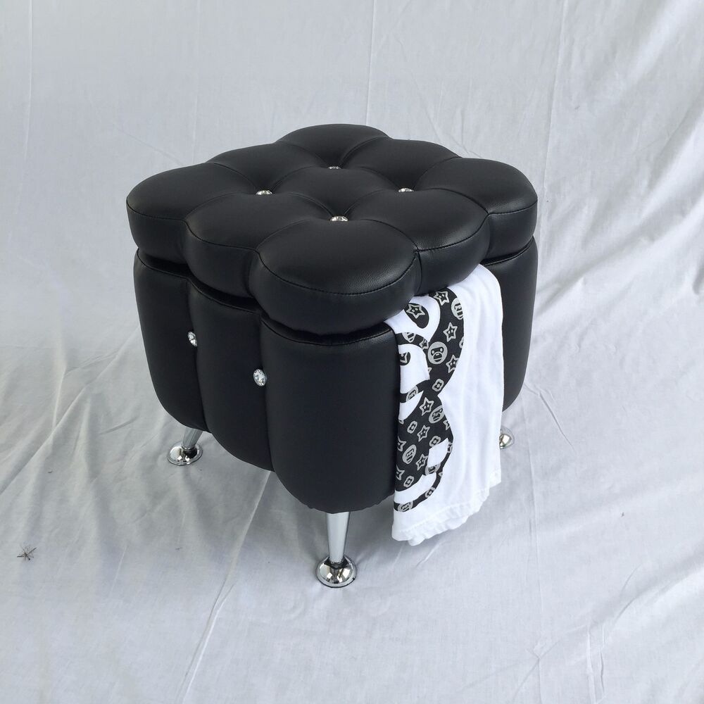 Black Vanity Foot Stool Chrome Legs Faux Leather Diamond