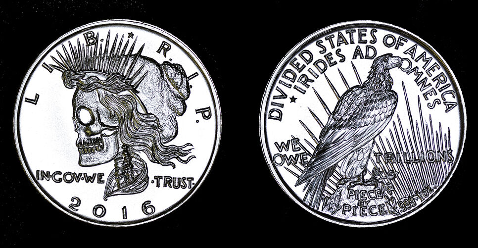Peace Dollar Hand Carved 1 Oz 999 Silver Divided States