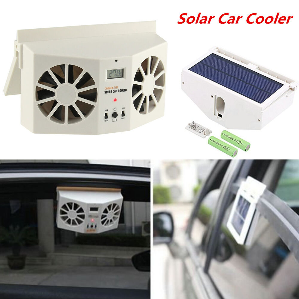 ivory solar powered auto car window ventilator cooler air vent cool fan radiator ebay. Black Bedroom Furniture Sets. Home Design Ideas