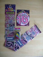 16th BIRTHDAY PARTY PACK BANNER, BALLOONS AND BADGE