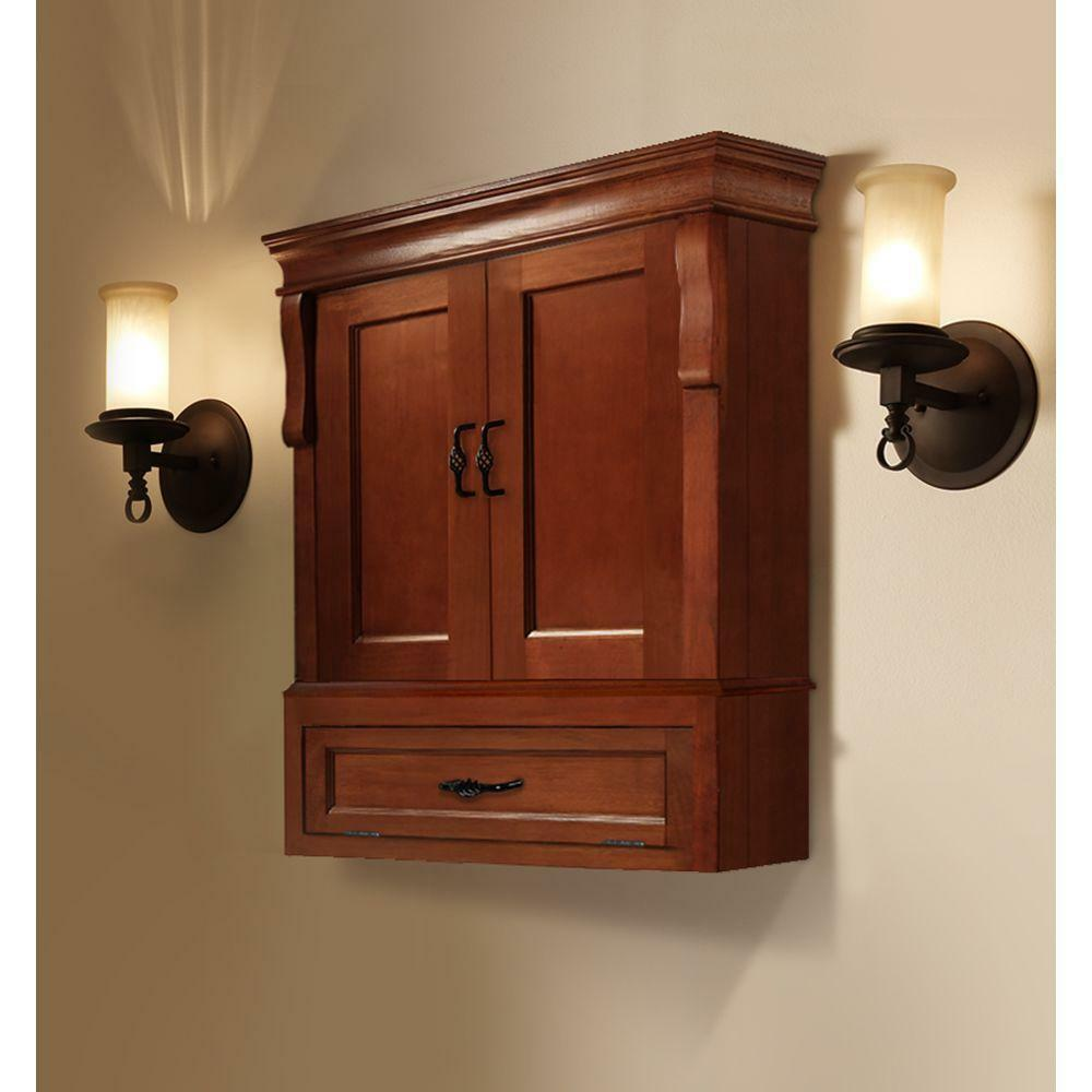 brown bathroom wall cabinet naples w wall cabinet warm cinnamon storage bathroom 12558