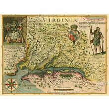 1627 Map of Virginia by John Smith Historic Vintage Style Wall Map - 18x24