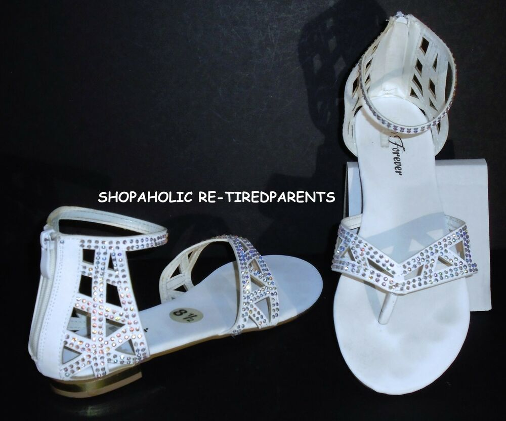 e3503125e249 Details about FOREVER – SANDALS - ZIP BACK FLATS – WHITE - SPARKLY  RHINESTONES - SIZE 8½ -VGC