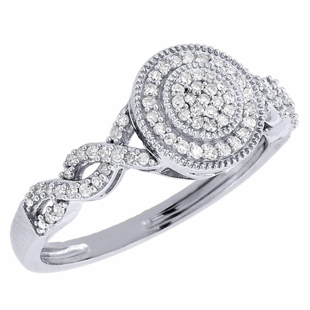 Round Diamond Infinity Engagement Ring 10k White Gold Circle Wedding Bridal