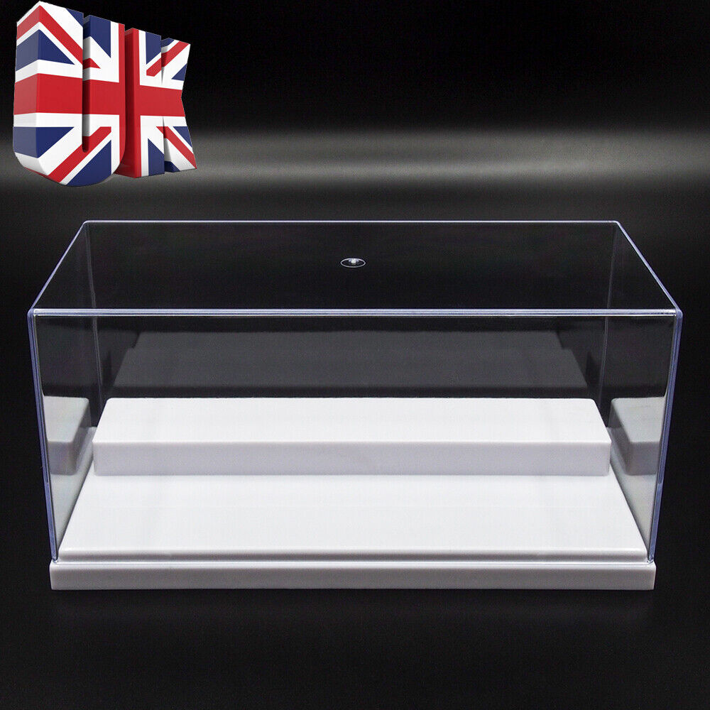 uk clear acrylic display case perspex box 20cm l plastic white base dustproof uv 713653899456 ebay. Black Bedroom Furniture Sets. Home Design Ideas