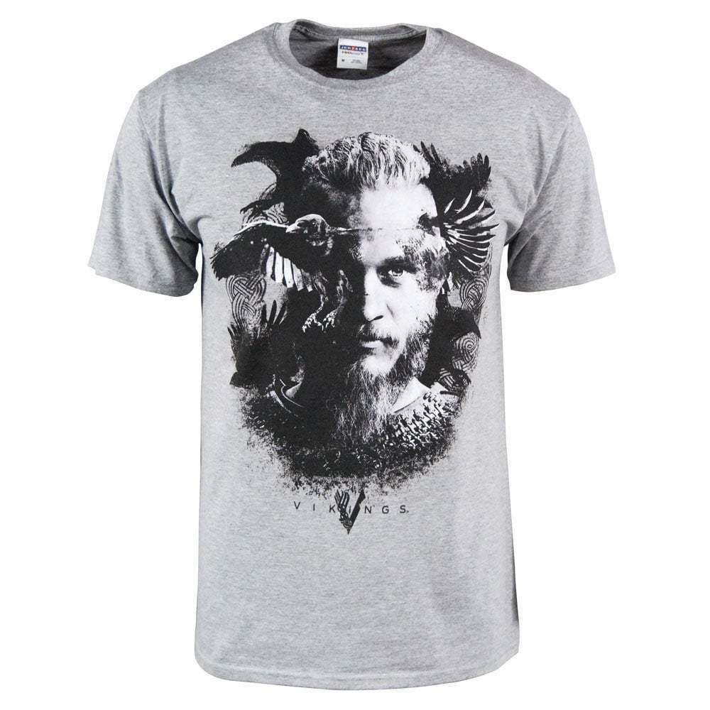 mens vikings tv series odin 39 s raven ragnar lodbrok t shirt heather grey new ebay. Black Bedroom Furniture Sets. Home Design Ideas