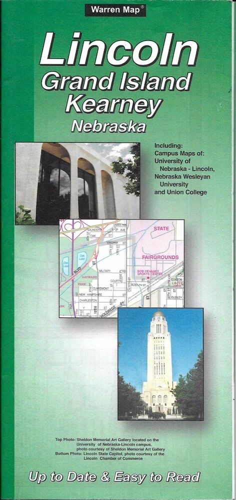 Street Map Of Lincoln Grand Island Kearney Nebraska By Warren