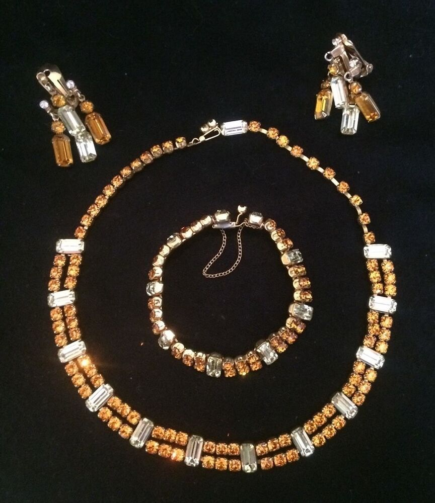 Vintage kramer of new york rhinestone jewelry set signed for Antique jewelry stores nyc