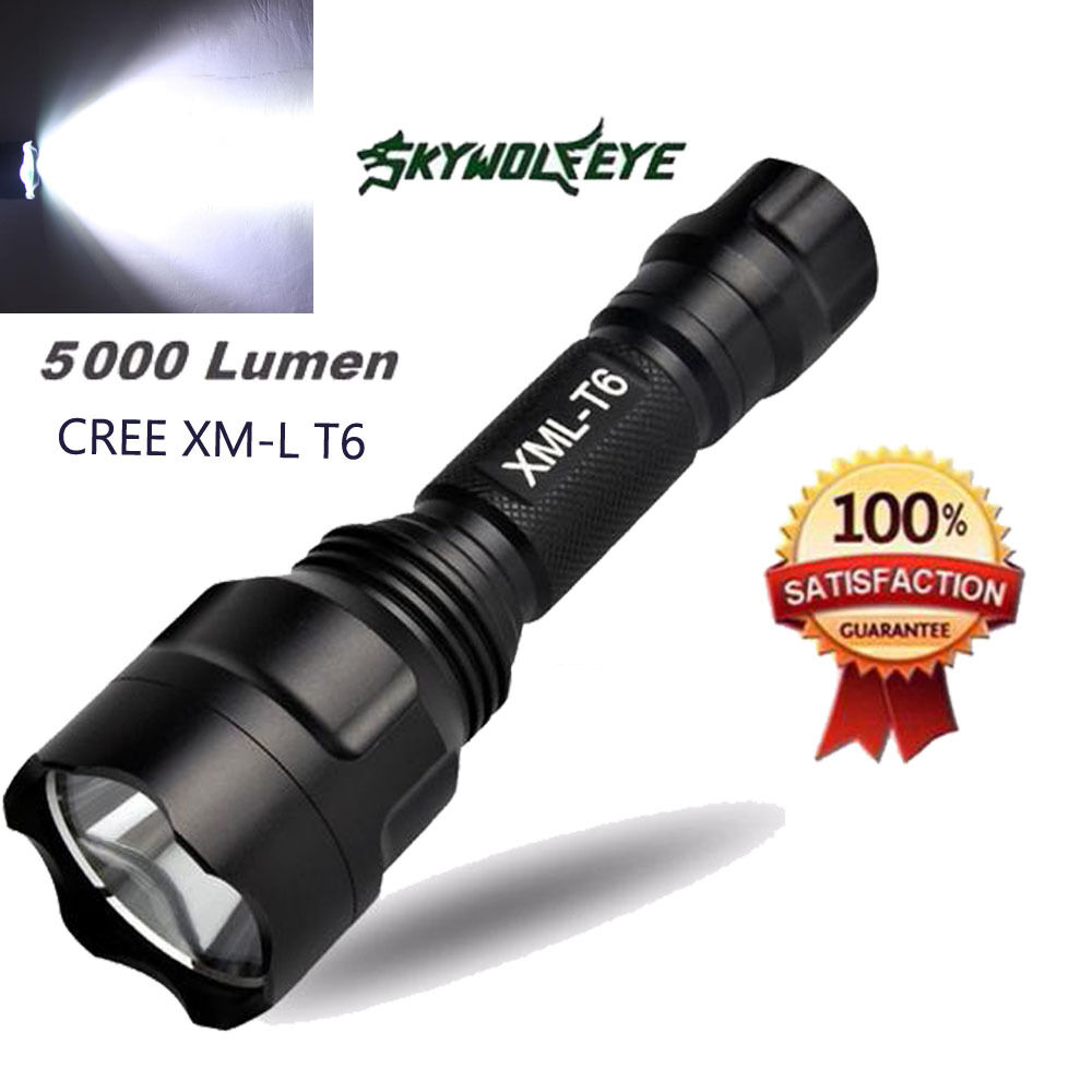 T6 LED Zoomable Flashlight 10000LM CREE XM-L Torch Lamp Light AAA 5-ModeTR