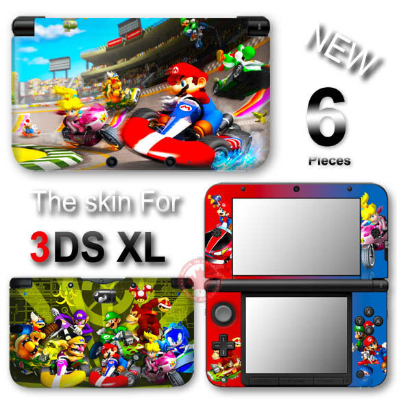 super mario kart new skin vinyl sticker decal cover 2 for nintendo 3ds xl ebay. Black Bedroom Furniture Sets. Home Design Ideas