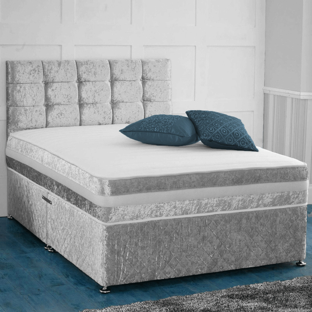 Crushed velvet divan bed with under bed storage for Small double divan bed with headboard
