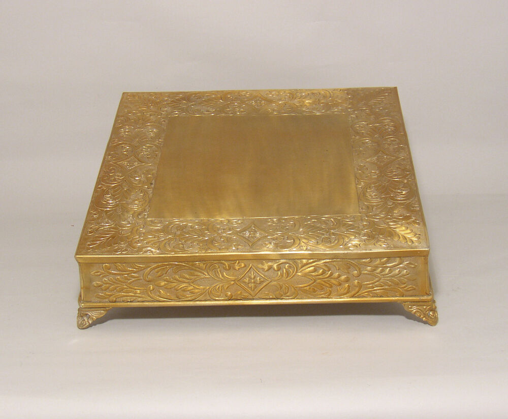 "Antique Gold Finish Cake Stand Plate Plateau 18"" Square ..."