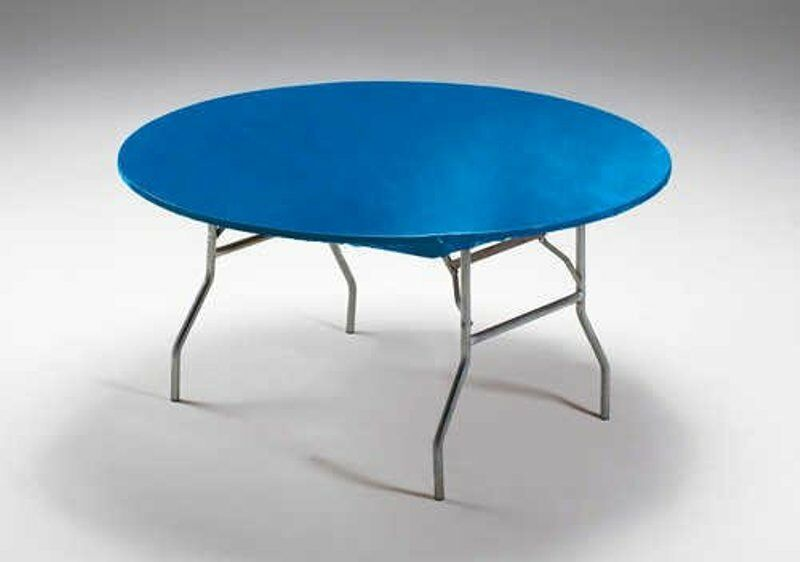 12 Blue Stay Put 60 Quot Round Fitted Plastic Tablecloths