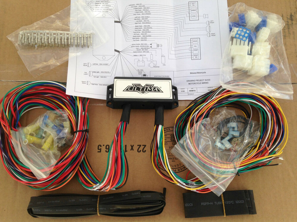 Complete Motorcycle Wiring Harness : Ultima complete wiring harness harley with big twin and