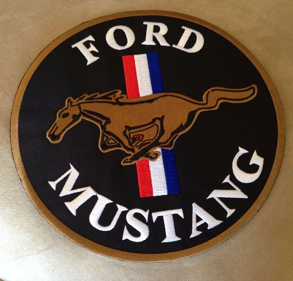 9 Quot Ford Mustang Motor Muscle Car Company Black Iron On Jacket Seat Cover Patch Ebay
