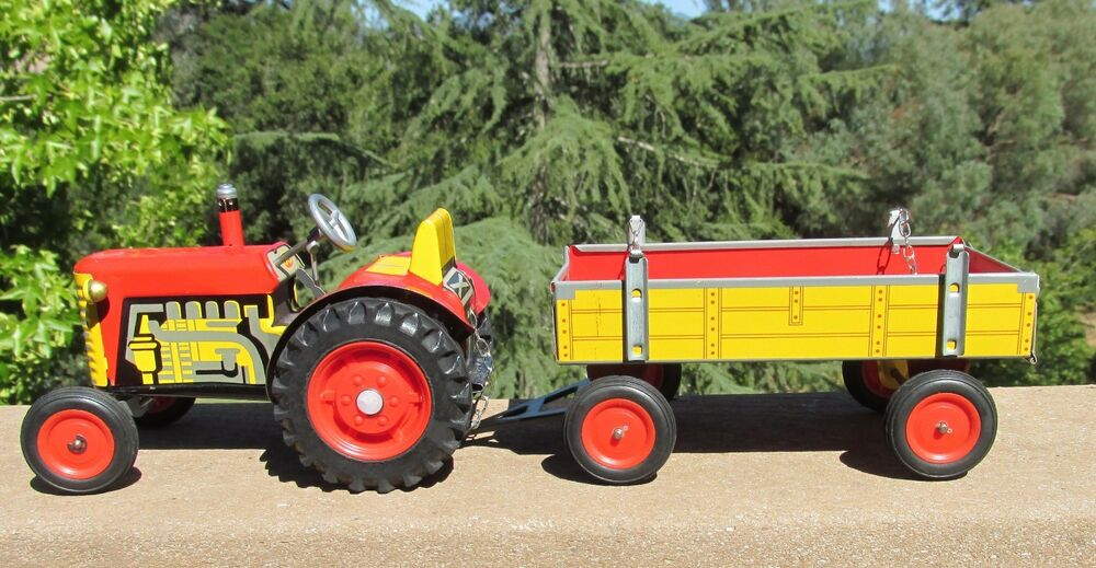 Antique Tractor Trailers : Vintage tin wind up toy tractor and trailer zetor from cz