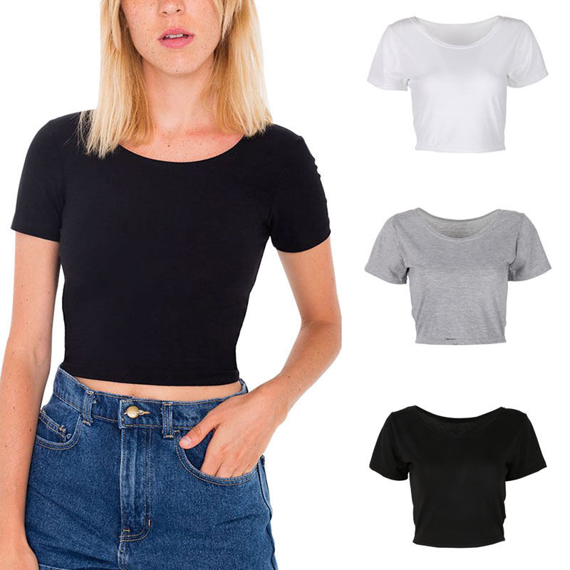 Women Short Sleeve Cropped Top T Shirt Belly Tops Blouses