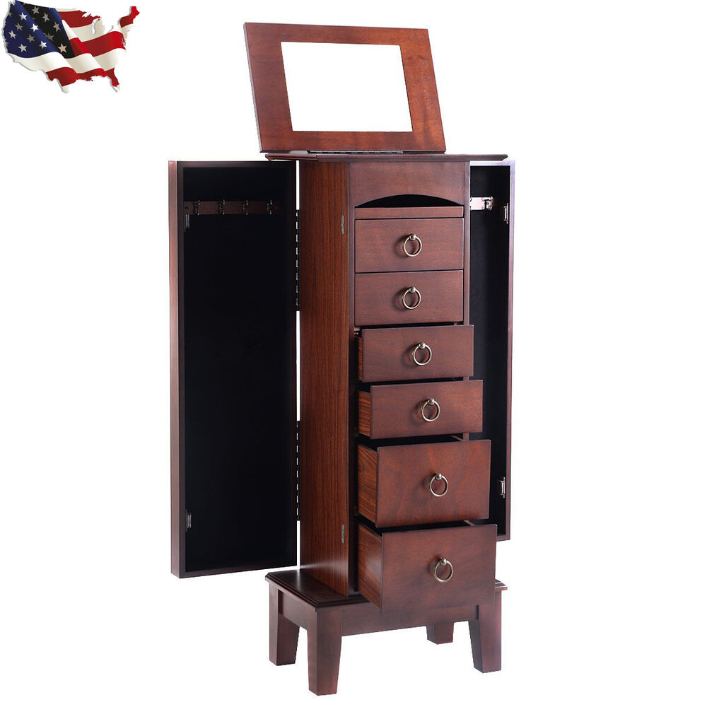 Wood jewelry cabinet armoire storage box chest stand