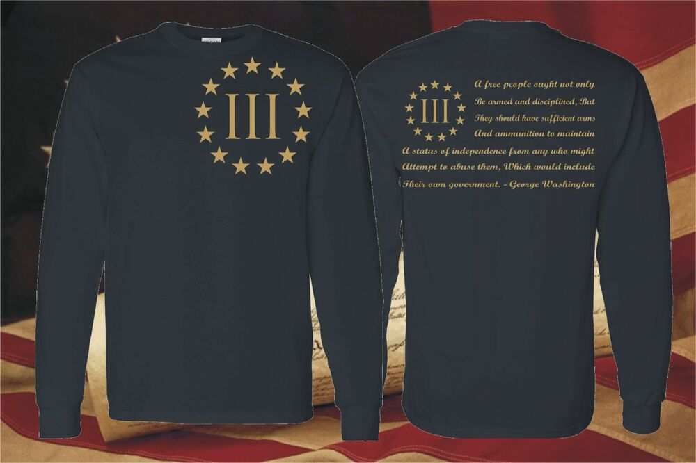 92ad2636 Details about THREE PERCENTER PATRIOT LONG SLEEVE T-SHIRT MOLON LABE 2ND  AMENDMENT 3 PERCENT