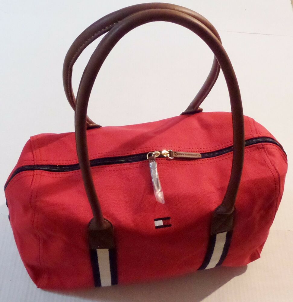 tommy hilfiger canvas duffel travel weekender bag ebay. Black Bedroom Furniture Sets. Home Design Ideas