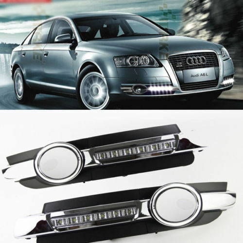2x Led Chrome Daytime Running Fog Lights Lamp Drl Grill For Audi A6 C6 2005 2008 Ebay