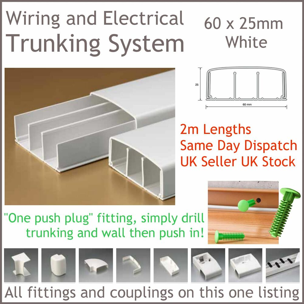 White Electrical Trunking System Cable Ducting Wiring Conduit 60 X With 25mm 2m Long Ebay