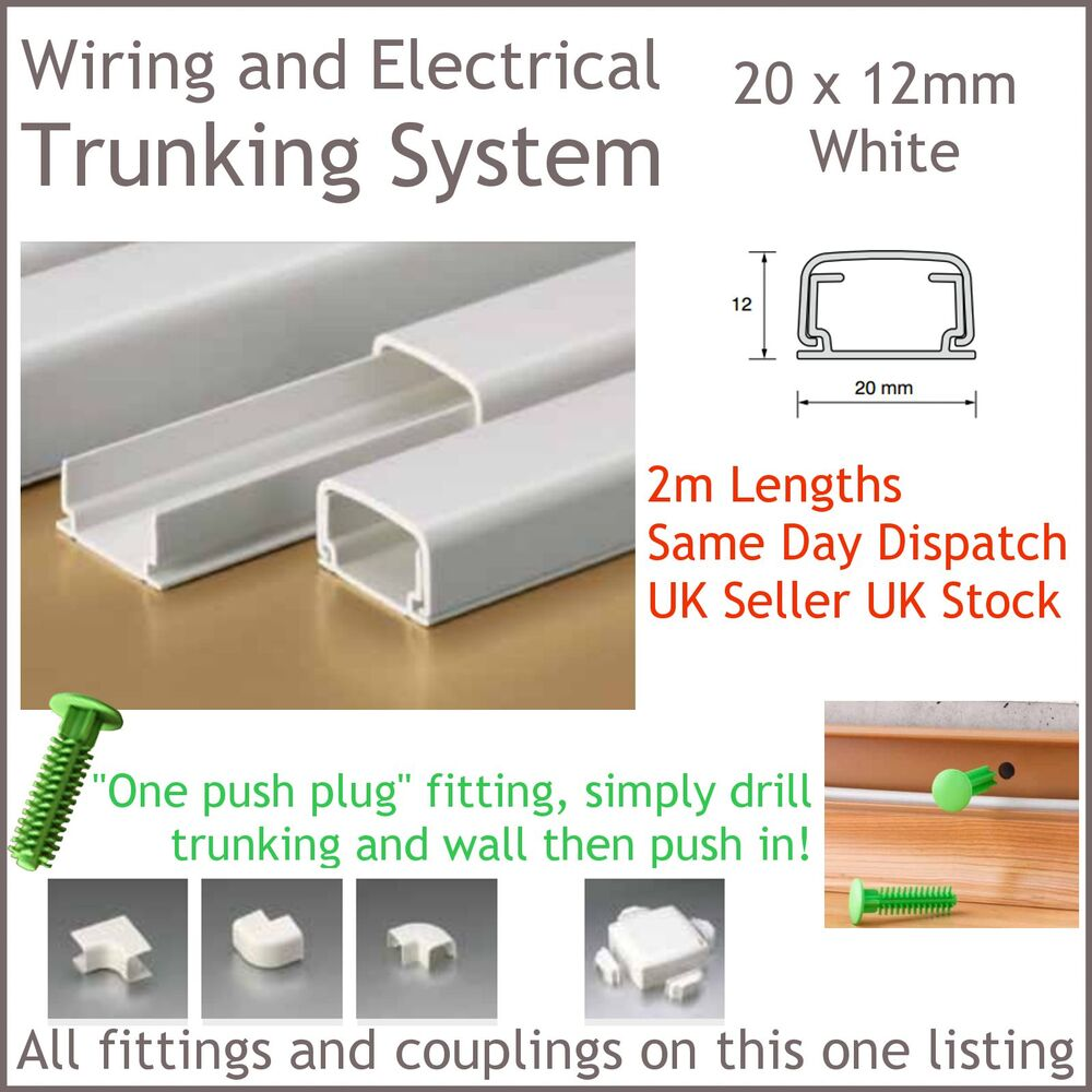 White Electrical Trunking System Cable Ducting Wiring Conduit 20 X Pvc 12mm 2m Long Ebay