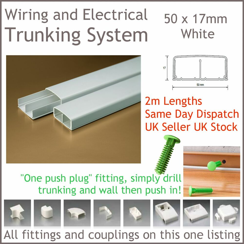 White Electrical Trunking System Cable Ducting Wiring Conduit 50 X With 17mm 2m Long Ebay