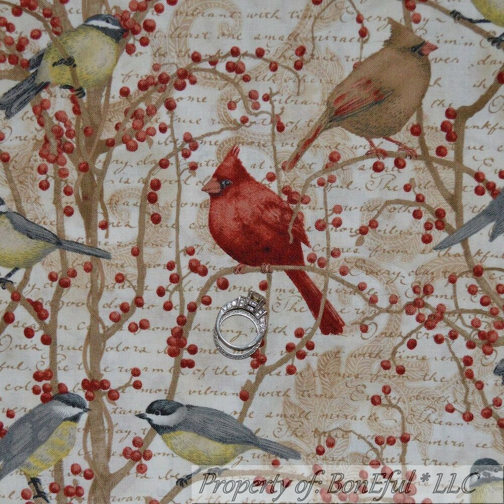 Boneful fabric fq cotton quilt bird toile berry cardinal for Fabric material for sale